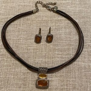 Cookie Lee necklace and earrings leather amber